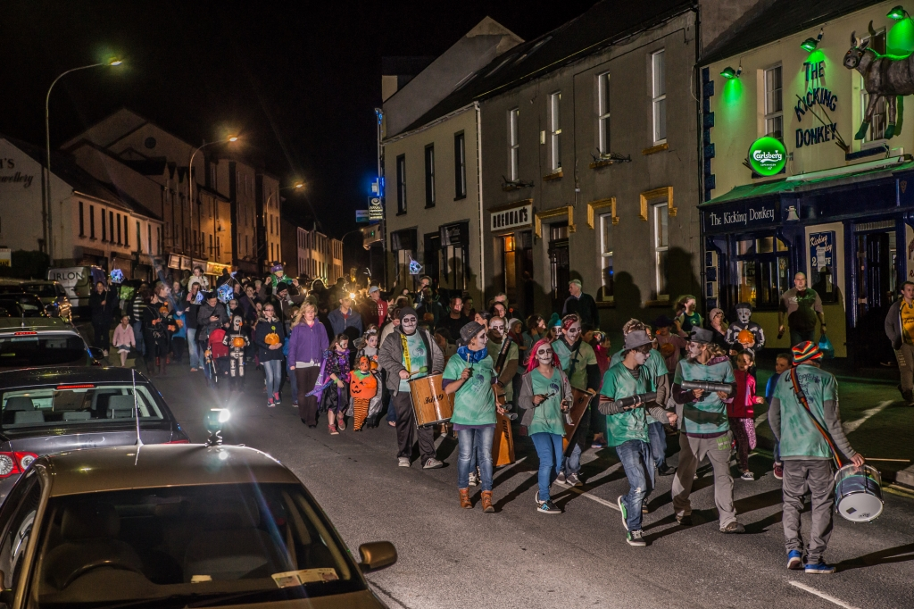 Some of the massive crowd taking part in the pumpkin parade on Thursday evening - pic Claudio Salviato Photography