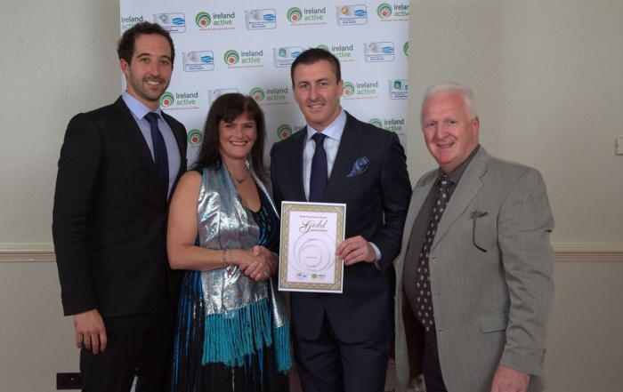 L-R Tom Losey Duty Manager Waterworld, Noreen Sweeney Duty Manager Waterworld, Barry Walsh President Ireland Active and Anderson Keys, General Manager Waterworld